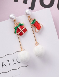 Fashion Z6306 Socks Hair Ball Christmas Earrings
