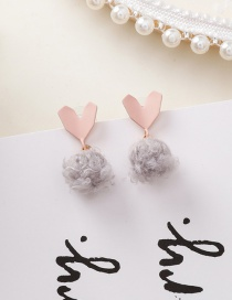Fashion Pink Heart Of The Clouds Plush Ball Stud Earrings