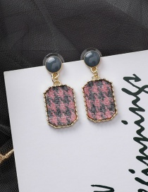 Fashion Pink 925 Silver Needle Suede Plaid Texture Earrings