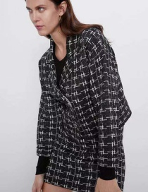 Fashion Houndstooth Metallic Color Knit Jacket