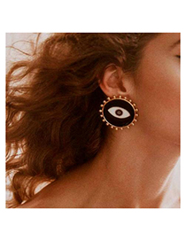 Fashion Black Alloy Dripping Eye Stud Earrings