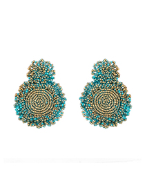 Fashion Gold Paint Blue Gold-plated Lacquered Earrings