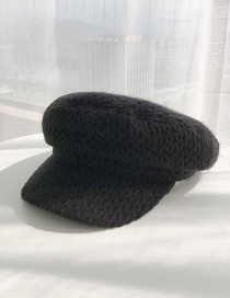 Fashion Full Twist Flat Top Black Wool Knit Flat Top Beret