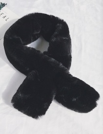 Fashion Chinese Version Of The Top Black Lamb Hair Double-sided Cross Scarf