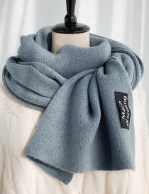 Fashion Maco Black Label Blue Solid Color Knitted Wool Patch Scarf