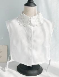 Fashion Chiffon Lace Collar Vest D White Openwork Lace Lace Fake Collar