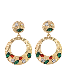 Fashion Gold Alloy Diamond-studded Round Earrings