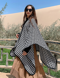 Fashion Houndstooth Houndstooth Knitted Cashmere Split Shawl