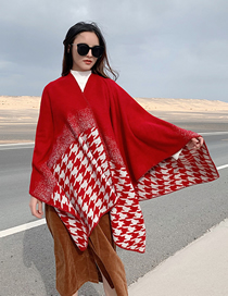 Fashion Big Red Two Houndstooth Knit Imitation Cashmere Split Shawl