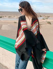 Fashion Black Cashmere Cloak Cloak