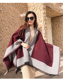 Fashion Brick Color Solid Color Border Knitted Cashmere Split Shawl