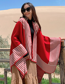 Fashion Big Red Knitted Cashmere Split Shawl