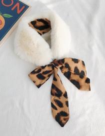 Fashion White Fur Collar Ink Dot Leopard Brown Leopard-print Bow-like Rabbit Fur Ribbon Scarf