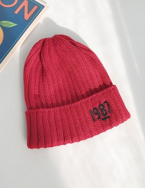 Fashion 1987 Wine Red Knitted Wool Cap