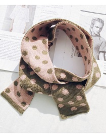 Fashion Dotted Knit Small Scarf Green Narrow Short Wave Knit Wool Scarf