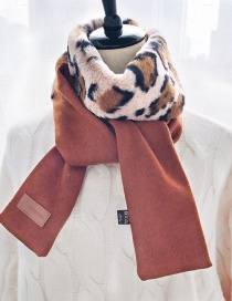 Fashion Caramel Woolen Tops Leopard Top Stitching Woolen Patch Leather Scarf