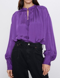 Fashion Purple Stand Collar Blouse