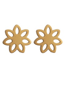 Fashion Flower Gold Stainless Steel Geometric Pattern Earrings