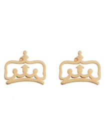 Fashion Crown Gold Stainless Steel Geometric Pattern Earrings