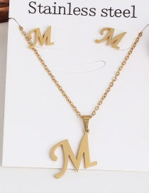 Fashion M Gold Stainless Steel Letter Necklace Earrings Two-piece
