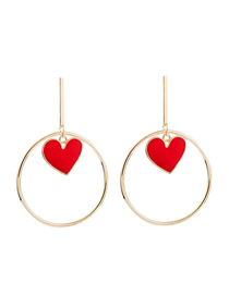 Fashion Red Gold-plated Love Big Circle Earrings