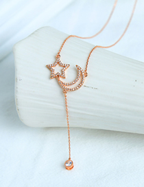 Fashion Pink Gold Zircon And Diamond Star Necklace