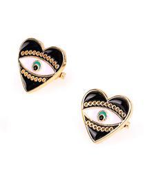 Fashion Black Eye Heart Drip Earrings
