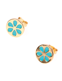 Fashion Lake Blue Drop Oil Fruit Earrings
