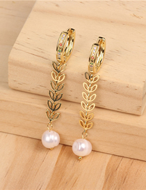 Fashion Gold Copper Plated Gold And Diamond Earrings
