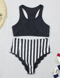 Fashion Black Striped Print Split Swimsuit