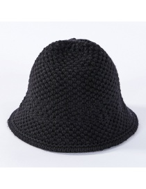 Fashion Black Solid Color Knit Wool Fisherman Hat
