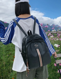 Fashion Black Double Zip Stitching Backpack