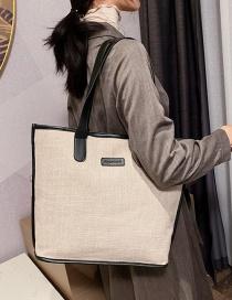 Fashion Khaki Stitched Shoulder Bag