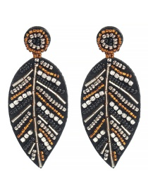 Fashion Dark Brown Rice Beads And Diamond Earrings