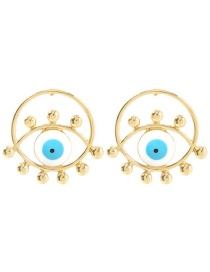 Fashion White Alloy Openwork Round Eye Earrings