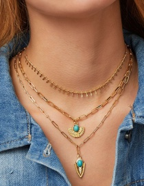 Fashion Gold Alloy Turquoise Multi-layer Necklace