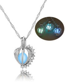Fashion Silver Water Drop Balls With Diamonds Cutout Night Bead Necklace