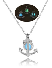 Fashion Silver Anchor Hollowed Out Bead Necklace