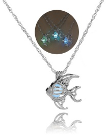 Fashion Silver Fish Hollow Empty Night Bead Necklace