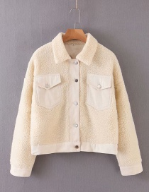 Fashion Cream Color Woolen Stitching Lapels Single-breasted Jacket
