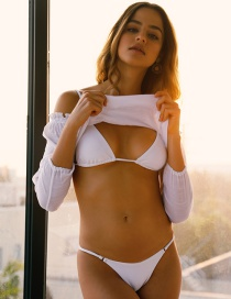Fashion White Lace-up Mesh Bikini Three-piece Suit