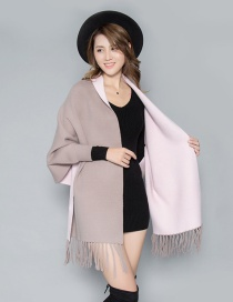 Fashion Khaki Powder Double-faced Velvet Color Matching Tassel Cloak Shawl Scarf Dual-use