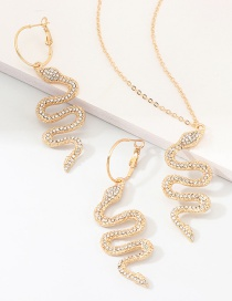 Fashion Gold Metal Diamond Snake Necklace Earring Set