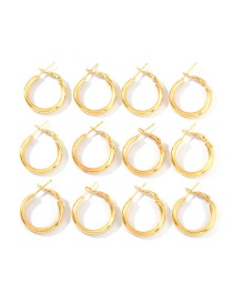 Fashion Gold Metal C-shaped Circle Earrings Set Of 6
