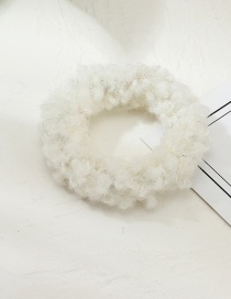 Fashion White Plush Hair Ring