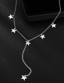 Fashion White K Pentagram Necklace