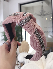 Fashion Pink Flannel Striped Pleated Knotted Diamond Wide-brimmed Headband