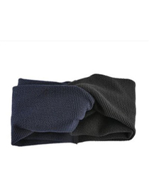 Fashion Navy + Black Two-tone Thickening Hair Band Knit Wide-brimmed Cross Hair Band