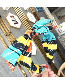 Fashion Yellow Color Strip Double-layered Large Bow Letter Wide-brimmed Striped Fabric Headband