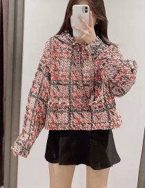 Fashion Color Plaid Knit Stitching Hooded Sweater